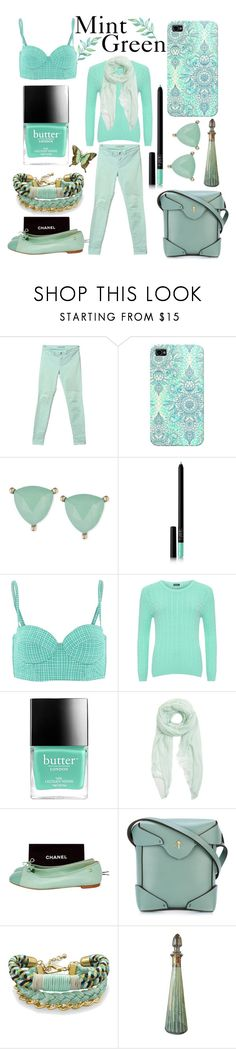 """""""Mint Green"""" by mandimwpink ❤ liked on Polyvore featuring J Brand, Casetify, Lonna & Lilly, NARS Cosmetics, Calipige, WearAll, Butter London, Furla, Chanel and MANU Atelier"""