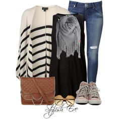 #striped #cardigan #scarf #cognac #cognacbag #sunglasses #jeans #skinny #converse #top #black #gray #casualwear #casual #cool #love #awesome #set