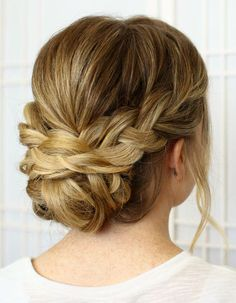 Wear your hair in a brilliant braided updo for your next big event. Choose a braided updo hairstyle from our list to make your style special. Updos For Medium Length Hair, Medium Hair Styles, Short Hair Styles, Updo Styles, Updo For Long Hair, Bridesmaid Hair Medium Length, Up Hairstyles, Pretty Hairstyles, Wedding Hairstyles