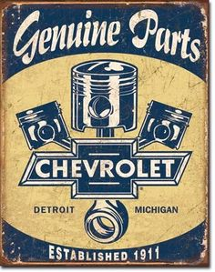 Chevrolet Chevy Pistons Distressed Retro Vintage Tin Sign Garage Man cave new