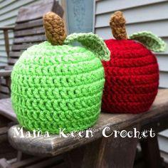 $12.00 Crocheted Fall Apple Hats! Handmade by Mama Keen Crochet on Facebook.