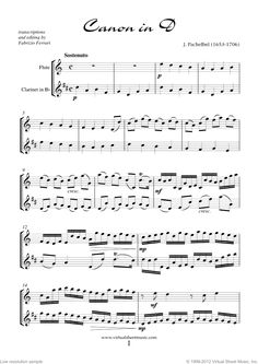 Valentine Sheet Music for flute and clarinet