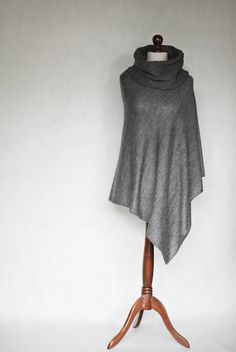 Knit poncho gray poncho gray scarf trending by KnitwearFactory