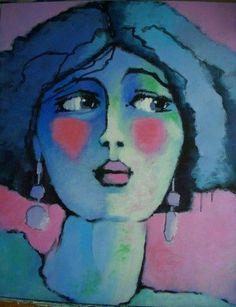 regard de femme 3 - Peinture, 60x73 cm ©2009 par Odile Chodkiewicz - Peinture contemporaine, portrait de femme