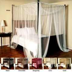 For the Master Bed  @Overstock.com.com - Palace Four-poster Bed Canopy - Keep the mosquitoes away with this sheer four-poster bed canopy. The canopy features flat panels that can be hung from your four-poster bed or the ceiling. They come in six color options to match your decor. Dry cleaning is recommended.  http://www.overstock.com/Bedding-Bath/Palace-Four-poster-Bed-Canopy/6306985/product.html?CID=214117 $32.28