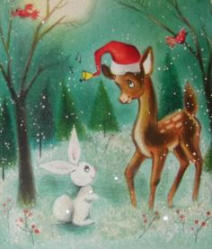 deer and bunny. Old Time Christmas, Merry Christmas, Old Fashioned Christmas, Christmas Scenes, Christmas Deer, Christmas Animals, Vintage Christmas Cards, Vintage Holiday, Christmas Greeting Cards