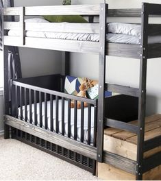 IKEA hack And for when number two comes along there's always room for change. The MYDAL bunk bed frame makes way for bub by removing a bed and adding a crib. Bunk on top + crib underneath = ultimate space saver. (via Apartment Therapy) - See more at: http://mumsgrapevine.com.au/2015/04/ikea-hacks-for-babies-nursery/#sthash.phZ78k1d.dpuf