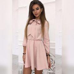 b2ff68d2e55 Μακρυμάνικο μίνι ροζ φόρεμα FAVORIA PINK