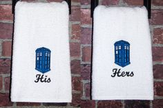 His and Hers TARDIS bathroom towels