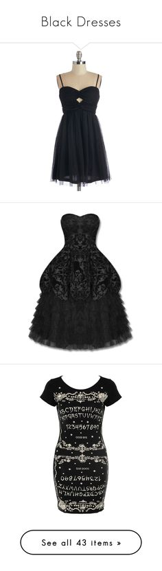 """Black Dresses"" by rylee-cina ❤ liked on Polyvore featuring dresses, apparel, black, short dresses, a line dress, short cocktail dresses, black a line dress, fit and flare cocktail dress, hell bunny and hell bunny dress"