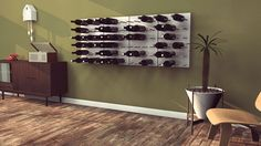 This would be a fabulous and easy #DIY project using our #PureBond hardwood plywood....I love how it makes your wine rack also a piece of art! If you don't want to DIY you can always buy the modular system from the site.