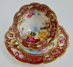 Picture 2 of 8 Japanese Porcelain, China Porcelain, Wedding China, Antique Glassware, Cream Roses, Gold Flowers, Tea Cup Saucer, Blue Cream, Interior Goods