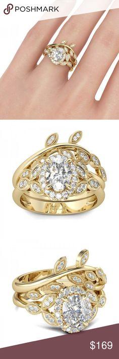 Gorgeous 💍 Jeulia Milgrain Created White Sapphire New! In Original Box! With gift Bag! Stunning. Jeulia Milgrain Leaf Shape Oval Cut Created White Sapphire Wedding Set. Size 5.5. Jeulia Milgrain  Jewelry Rings