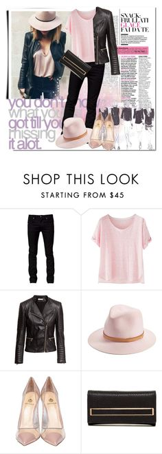 """""""Pink cute outfit for cloudy Monday"""" by cool-cute ❤ liked on Polyvore featuring GE, Tiger of Sweden, Wrap, H&M, rag & bone, Semilla, Urban Expressions, women's clothing, women and female"""