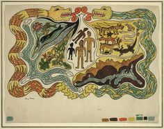 Diego Rivera: The Creation Illustration for Popol Vuh, Watercolor and gouache on paper. Diego Rivera, Painting Courses, Painting Lessons, La Reverie, Creation Myth, Hispanic Heritage Month, Principles Of Design, Library Of Congress, Ancient Aliens