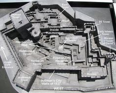 A model showing a birds'-eye view of the appearance of Jerusamems' Citidel.  The remains from the days of the Hasmoneans, Herod, Byzantine, early Muslims, Crusaders and the Ottoman Empire can be seen both in this model and at the actual site. Herod's tower called Phasael Tower can be seen to the upper left of the photo.