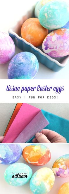 These beautiful Easter eggs are made with tissue paper and are easy enough for kids to do on their own! So much simpler than dye. Click through for the link for the right kind of tissue paper.
