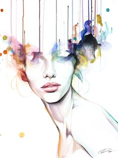 Wildfire - contemporary watercolor portrait painting by defectivebarbie