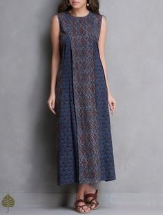 Buy Indigo Madder Black Ajrakh Printed Kali Dress by Jaypore Cotton The Label Online at Jaypore.com