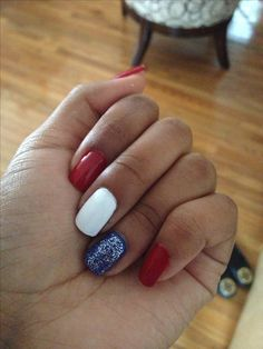 Simple 4th of July nails ! Red, white, & blue and a little silver