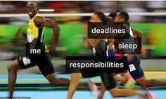 This is literally how I feel some days. #lol Some days I shirk my #responsibilities. Other days I can't make or simply ignore my #deadlines and on many days I'm working so hard I avoid #sleeping ! You don't want to run away from potential #success so we have to get our #priorities in order. #successpeople do not avoid deadlines or shirk their #responsibility and they try to recharge their bodies by getting a good night's rest. How can you refocus today to get more #productive?…