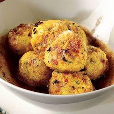 Polenta was popular in Italy even before pasta! In this recipe, cheesy polenta balls are pure #glutenfree comfort food. Recipe from La Cucina Italiana, found at www.edamam.com