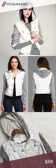 •Free People Ivory Comb Denim Knit Hoodie• NWT Free People Knit Denim Jacket in Ivory Comb  →Color(denim):Ivory Comb →Color(knit): Gray →Size: XS →Features: Removable Hoodie, pockets along the denim. It has a distressed finished.  →No trades(comments will politely be ignored). →15% off 2+ items  Free People Jackets & Coats Jean Jackets