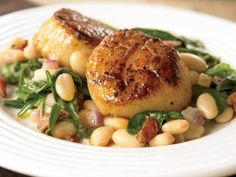 Cook Once, Eat All Week: White Beans - Seared Scallops with white beans and spinach