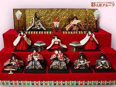 段飾りのおひなさま 彩人形-手のひらサイズの和紙人形-
