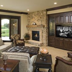 Off Center Fireplace Design Ideas, Pictures, Remodel, and Decor