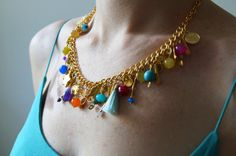 Multicolor GEMSTONE NECKLACE / gold plated chain  by sestras