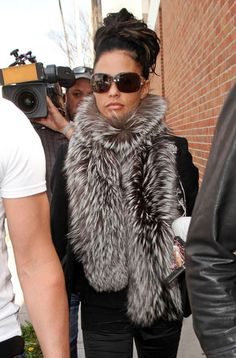Reality star Katie Price in fur scarf