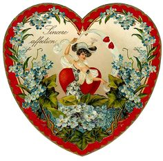 Heart with red edging, small lgt. blue flowers [akin to forget-me-nots] woman in center with a central red heart.