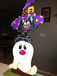 Ghost and Cat with hat por Gourdsandgifts en Etsy