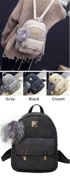 Fashion Frosted PU Zippered School Bag With Metal Lock Match Backpack 310d2a60e576d