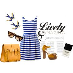 love the blues and yellows and the bird earrings <3 The dress is a great cut!