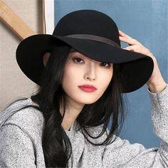 92dbfda350dbac Black Leather buckle floppy hat for women winter wide brim wool hats