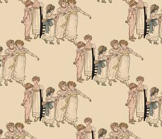 Kate Greenaway Dance fabric by peacoquettedesigns on Spoonflower - custom fabric Pillow Fabric, Blush Color, Custom Fabric, Spoonflower, Backdrops, Craft Projects, Quilts, Texture, Wallpaper