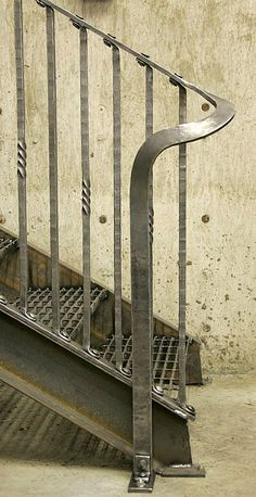 Honest and inspiring use of iron for this handrail and staircase Morris Hallowell. Honest and inspiring use of iron for this handrail and staircase Wrought Iron Stair Railing, Staircase Handrail, Stair Railing Design, Bannister, Metal Handrails, Balustrades, Steel Stairs, Outdoor Stairs, Interior Stairs