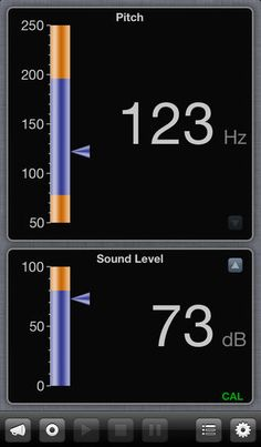 Sonneta Voice Monitor ($49.99) Monitor Vocal Pitch and Sound Level • Real-time meter display and moving chart provide you with feedback for singing or speech therapy exercises. • Record samples of your voice for later playback. • Speech therapists and voice coaches can record prompts for their clients to play back during practice. Voice-activated calibration allows you to measure absolute sound level no matter where you place your iPhone or iPad.