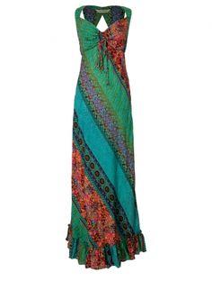 Hippy Dress Bohemian Maxi Dress Colourful Panel Effect Long Summer Hippy Dress Fairtrade by Folio Gothic Hippy PK22