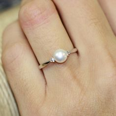 Single Pearl Ring in 10k White Gold Pearl Engagement Ring June Birthstone Ring Gemstone Band, Size 7 (Resizable) by LuxCrown on Etsy