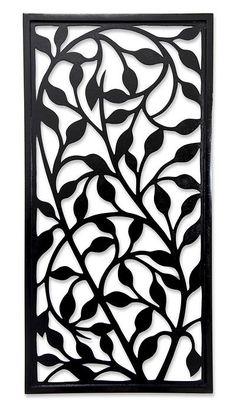Handcrafted Wood Wall Panel - Midnight Foliage   NOVICA