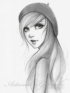 drawing for girls | art, drawing, eyes, girl, hair - inspiring picture on Favim.com