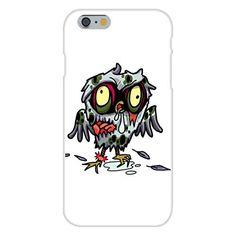 Apple iPhone 6 Custom Case White Plastic Snap On - 'Zombie Owl' Funny Animal Zombie Cartoon