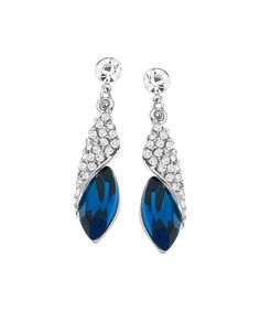 Look what I found on #zulily! Blue Swarovski® Crystal & Sterling Silver Wrap Teardrop Earrings #zulilyfinds