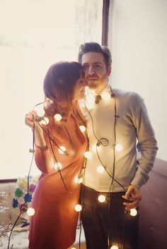 Elsie & Jeremy's Cozy, Christmas Engagement -- Or, cute for a Xmas couples photo AWW Christmas Couple, Cozy Christmas, Christmas Holidays, Christmas Lights, Holiday Lights, Christmas Colors, Simple Christmas, Christmas Christmas, Happy Holidays
