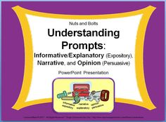 UNDERSTANDING WRITING PROMPTS Powerpoint~  This 56-slide PPT introduces the 3 types of CCSS writing: informative/explanatory (expository), narrative, and opinion (persuasive). Students learn key terms and use a variety of kid-friendly prompts to practice identifying different types of writing.  Knowing what the prompt requires makes it easier for students to stick to the topic and add relevant details.  When students understand the writing process, writing becomes fun and exciting!   $