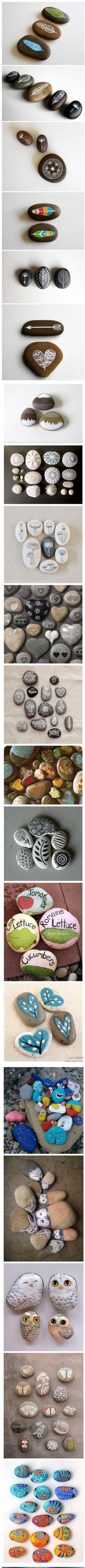 painted pebbles - make into magnets? Nat  Jake