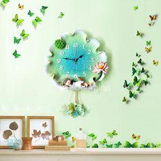 Unique Little Girl Sleeping on Lotus Leaf Resin Decorative Wall Clock - beddinginn.com